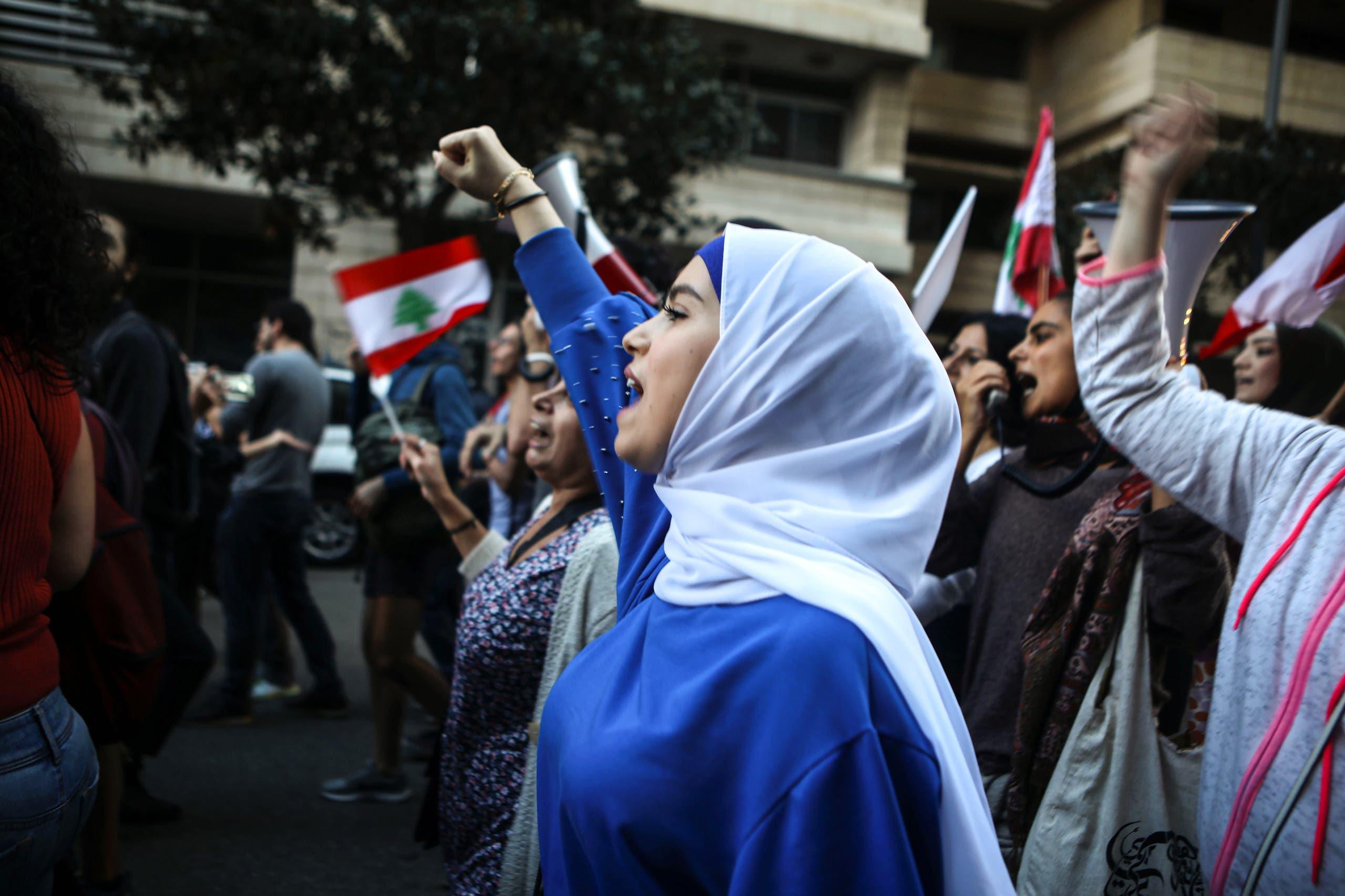 من تظاهرات لبنان (فرانس برس)