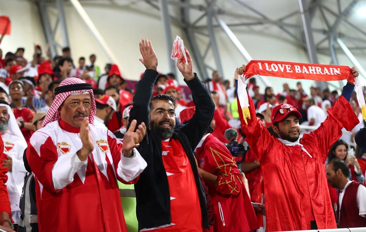 Bahraini fans inside the stadium before the match. (Reuters)