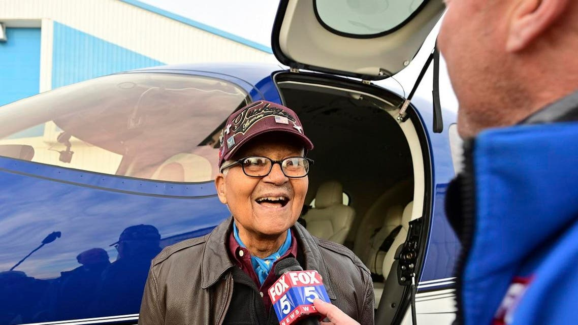 Retired US Air Force Col. Charles McGee, a Tuskegee Airman and World War II veteran, is interviewed before flying a Cirrus SF50 Vision Jet to celebrate his 100th birthday, Friday, Dec. 6, 2019. (AP)
