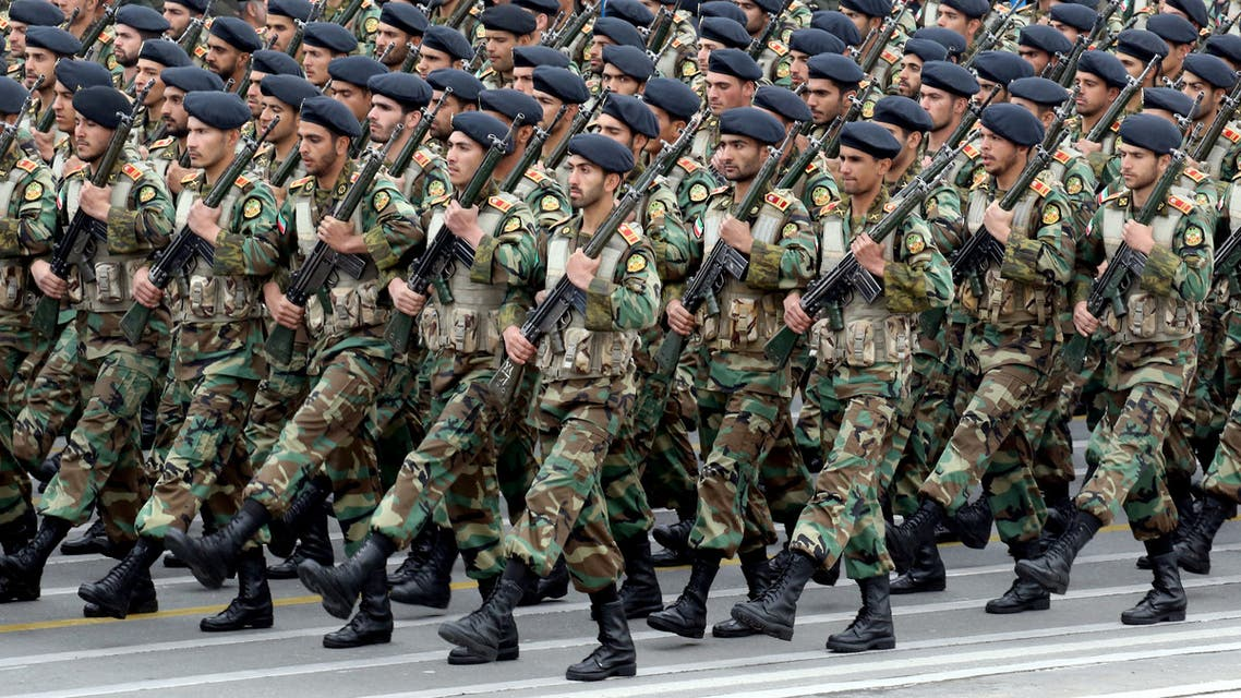 Iranian soldiers march during a military parade as they mark the country's annual army day in Tehran, on April 18, 2019. Iran's President Hassan Rouhani called on Middle East states on April 18 to drive back Zionism, in an Army Day tirade against the Islamic republic's archfoe Israel. Speaking flanked by top general as troops paraded in a show of might, Rouhani also sought to reassure the region that the weaponry on display was for defensive purposes and not a threat.