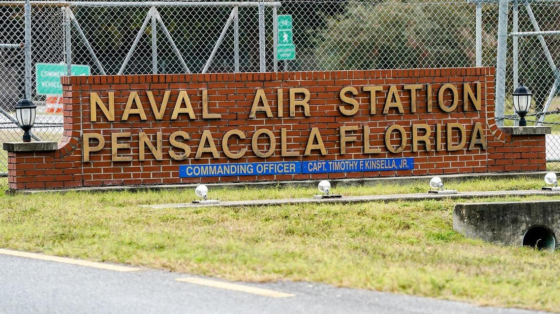 A general view of the atmosphere at the Pensacola Naval Air Station following a shooting on December 06, 2019 in Pensacola, Florida. (AFP)