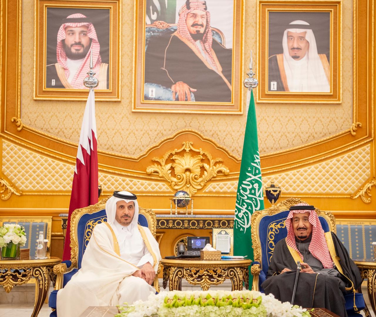 Qatar PM in Saudi, Salman - GCC 40 - SPA