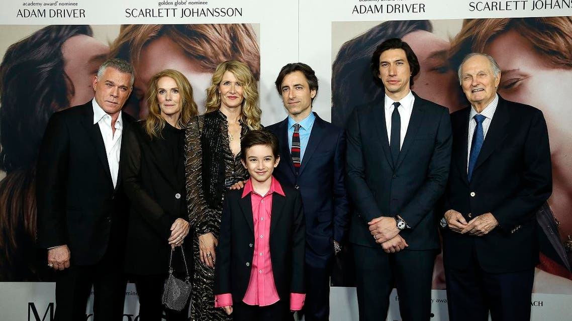"Ray Liotta, Julie Hagerty, Laura Dern, Azby Robertson, Noah Baumbach, Adam Driver and Alan Alda attend ""Marriage Story"" New York Premiere at Paris Theater on November 10, 2019. (AFP)"