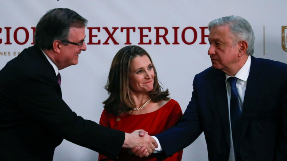 Canadian Deputy Prime Minister Chrystia Freeland looks on while Mexico's President Andres Manuel Lopez Obrador shakes hands with Mexico's Foreign Minister Marcelo Ebrard, during a meeting at the Presidential Palace, in Mexico City, Mexico December 10, 2019.