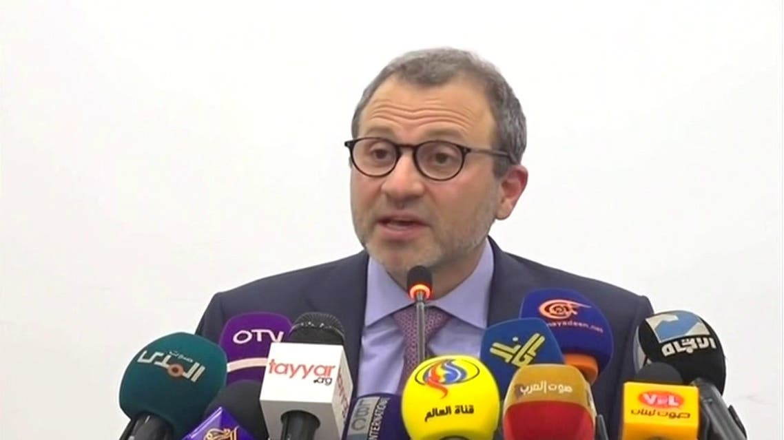 Lebanon's caretaker foreign minister and head of the Free Patriotic Movement, Gebran Bassil, during news conference. (Reuters)