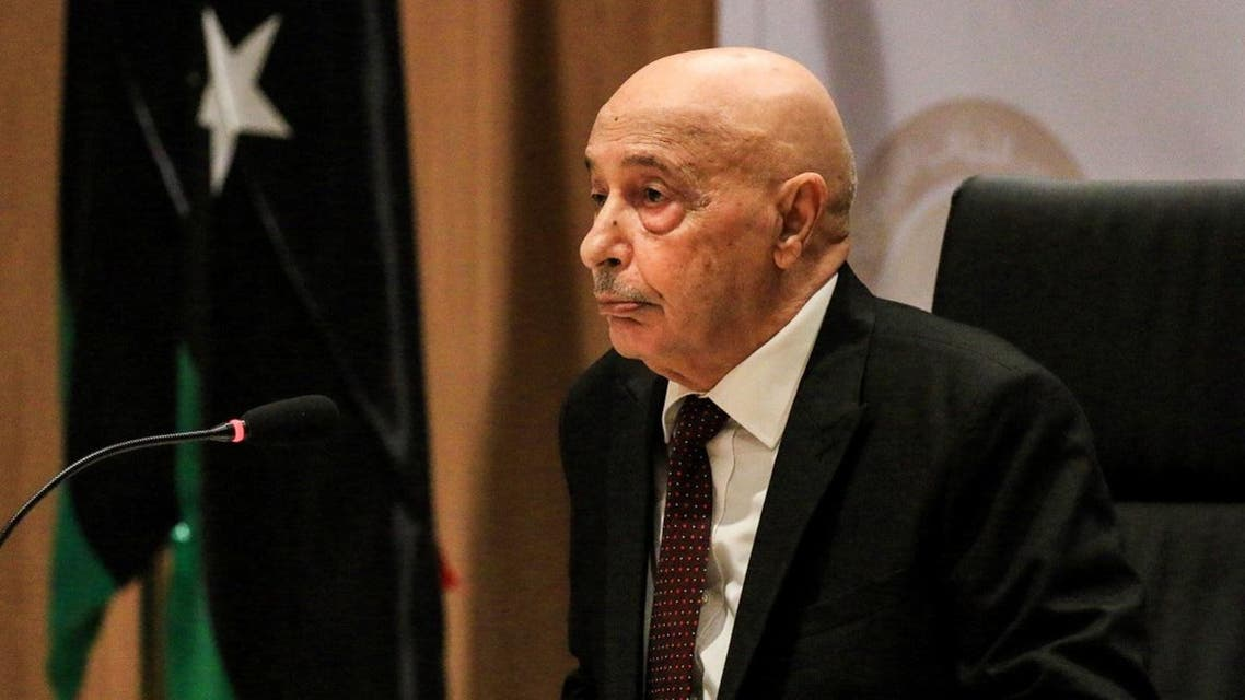 Aguila Saleh Issa, speaker of Libya's fomerly-Tobruk-based House of Representatives which was elected in 2014, chairs the first session for the assembly at its new headquarters in the second city of Benghazi. (AFP)