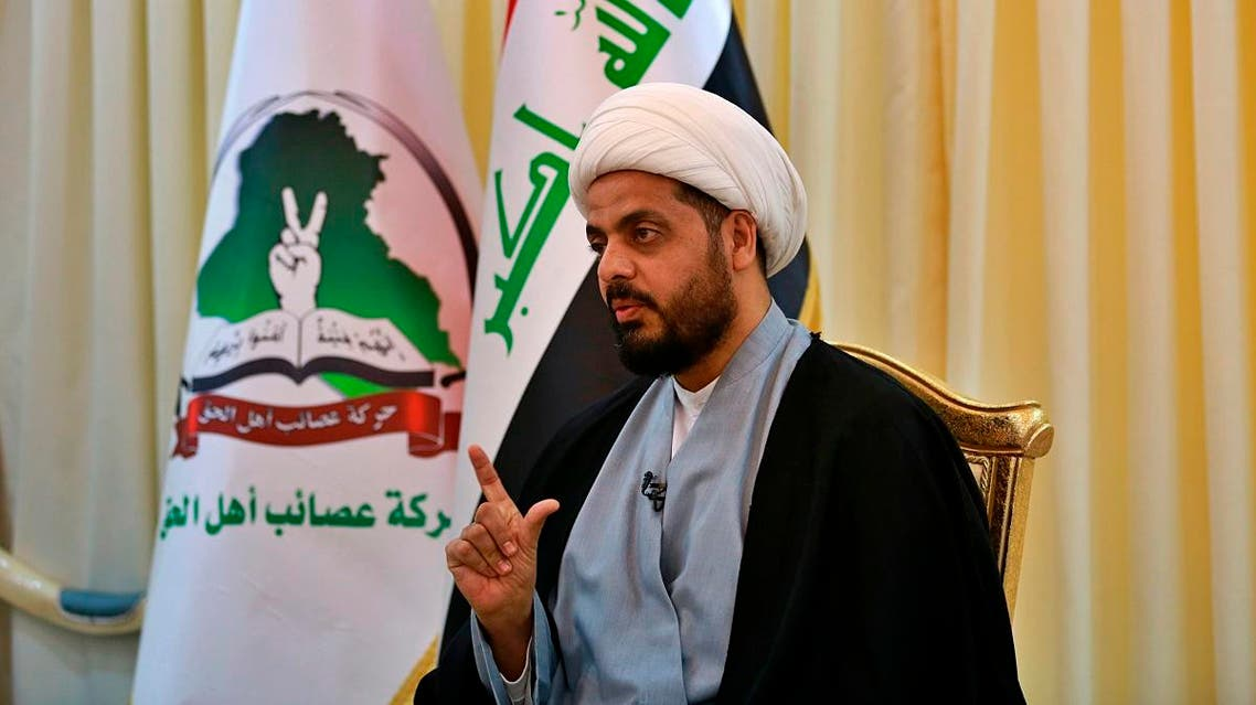 Qais al-Khazali, the leader of the militant Shiite group Asaib Ahl al-Haq, or League of the Righteous, speaks during an interview with The Associated Press in Baghdad, Iraq. (AP)