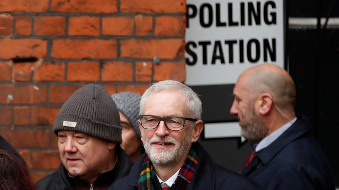 Corbyn on election day December 12 outside polling booth UK - AP