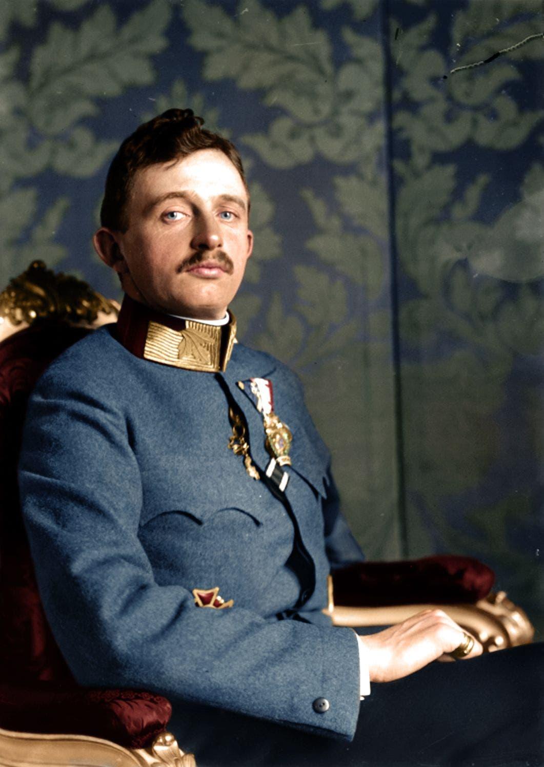 صورة ملونة اعتمادا على التقنيات الحديثة للإمبراطور النمساوي كارل الأول