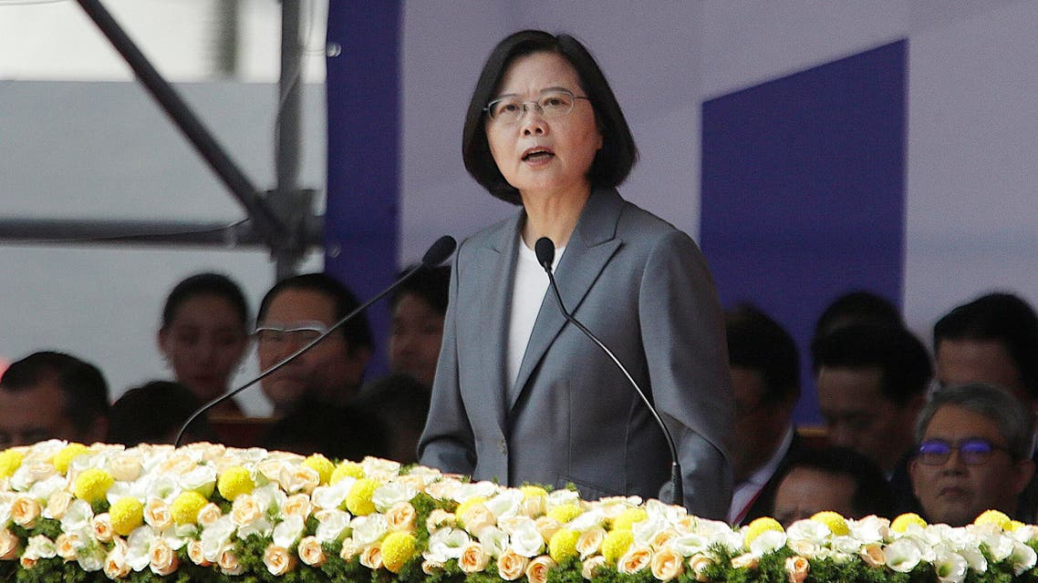 Taiwan President Tsai Ing-wen delivers a speech during National Day celebrations in front of the Presidential Building in Taipei, Taiwan, Thursday, Oct. 10, 2019. (AP)