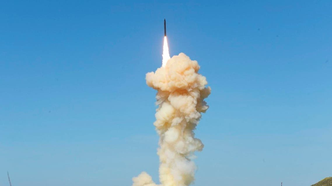 "Missile Defense Agency, the lead ground-based Interceptor is launched from Vandenberg Air Force Base, Calif., in a ""salvo"" engagement test of an unarmed missile target Monday, March 25, 2019. (AP)"