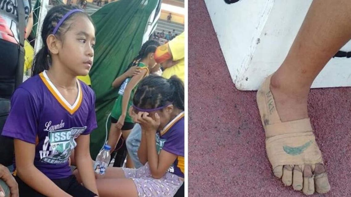 Bullos, 11, was one of several on her team of 12 athletes who made their own footwear. (Photo: Twitter)