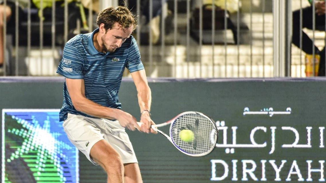 Daniil Medvedev of Russia returns a ball during a match at the Diriyah Tennis cup in Riyadh. (AFP)