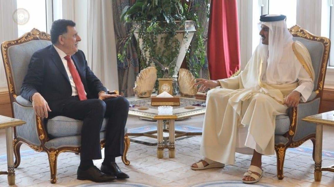 جانب من لقاء رئيس حكومة الوفاق فايز السراج وأمير قطر الشيخ تميم بن حمد