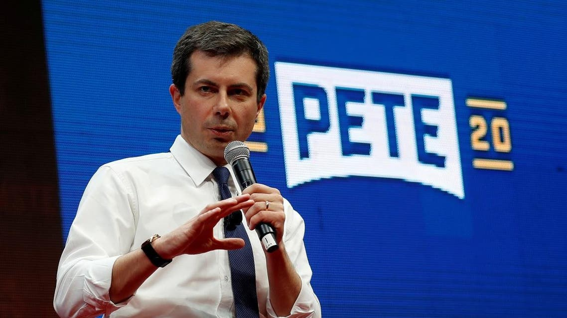 Democratic presidential candidate Pete Buttigieg speaks during the Teamsters Vote 2020 Presidential Forum in Cedar Rapids, Iowa. (Reuters)