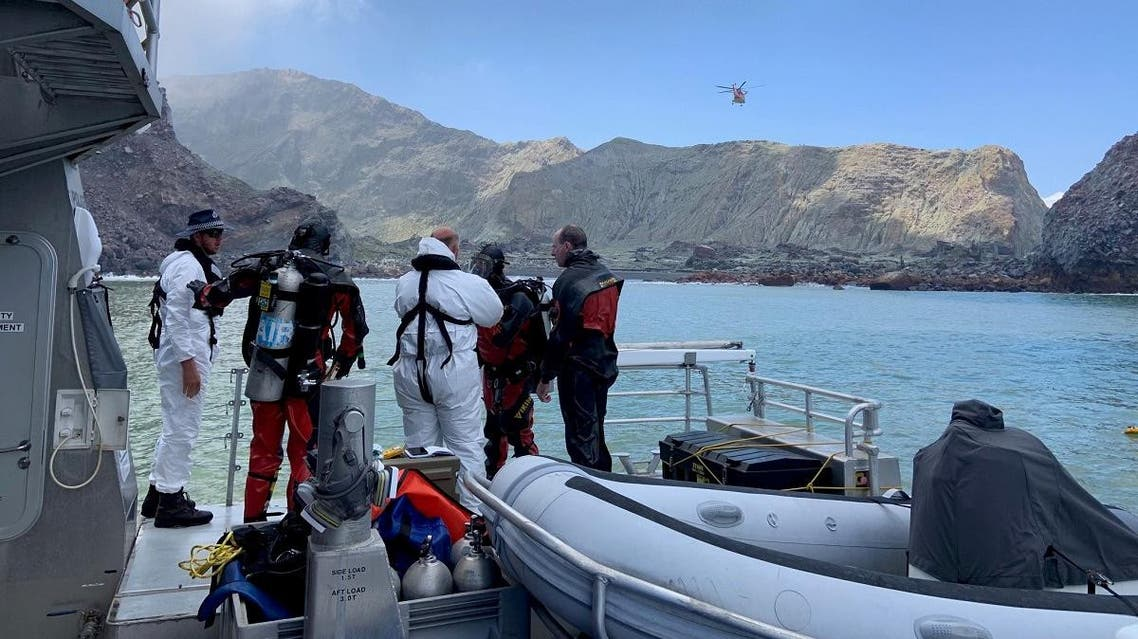 Members of a dive squad conduct a search during a recovery operation around White Island, which is also known by its Maori name of Whakaari, a volcanic island that fatally erupted earlier this week. (Reuters)