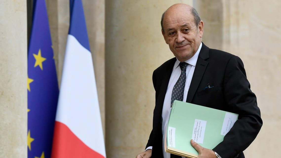 French Foreign Affairs Minister Jean-Yves Le Drian arrives to attend a meeting with NATO Secretary General Jens Stoltenberg (unseen) at the Elysee palace in Paris on November 28, 2019.