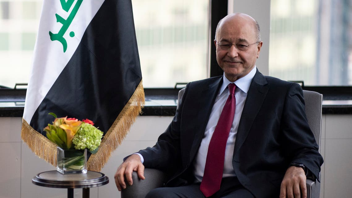 President of Iraq, Barham Ahmed Salih looks on during a bilateral meeting with US Secretary of State Mike Pompeo (not pictured) on September 22, 2019 in New York City.
