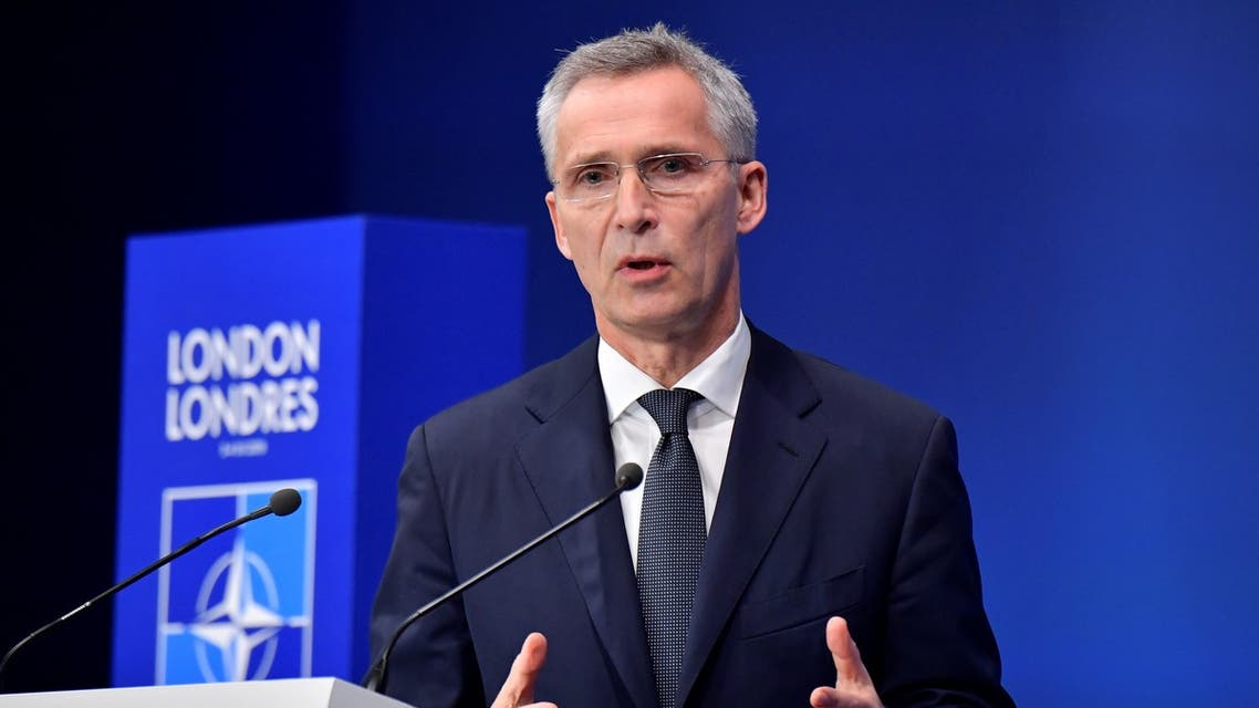 NATO Secretary General Jens Stoltenberg speaks at a press conference at the NATO summit at the Grove hotel in Watford, northeast of London on December 4, 2019.