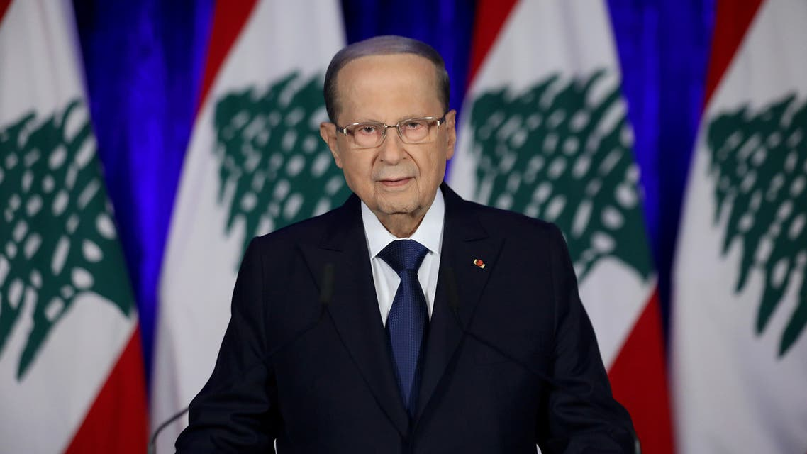 President Michel Aoun addresses the nation on the eve of the country's 76th independence day at the presidential palace in Baabda, Lebanon November 21, 2019. Dalati Nohra/Handout via REUTERS ATTENTION EDITORS - THIS IMAGE WAS PROVIDED BY A THIRD PARTY. NO RESALES. NO ARCHIVES