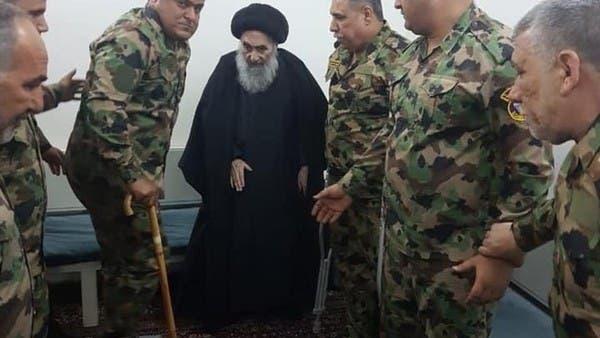 شاهد.. السيستاني يستقبل عدداً من جرحى الجيش العراقي