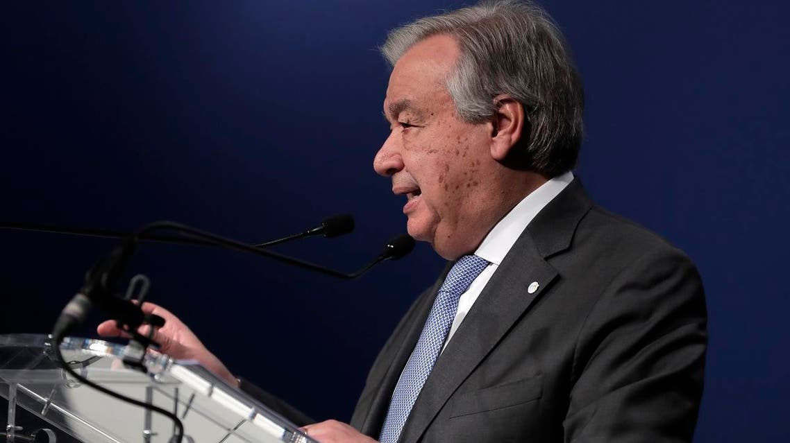 Antonio Guterres, Secretary-General of the United Nations, delivers a speech at the COP25 climate talks summit in Madrid, Spain, on December 12, 2019. (AP)