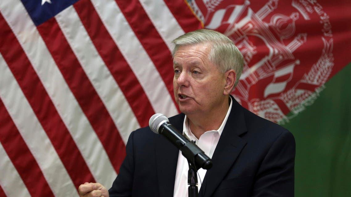 U.S. Senator Lindsey Graham, speaks during a press conference at the Resolute Support headquarters in Kabul, Afghanistan, Monday, Dec. 16, 2019. (AP)