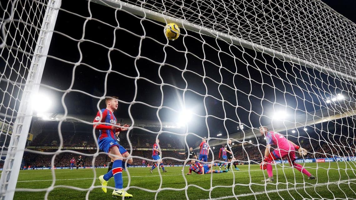 Brighton & Hove Albion's Neal Maupay scores their first goal against Crystal Palace during the Premier League. (Reuters)