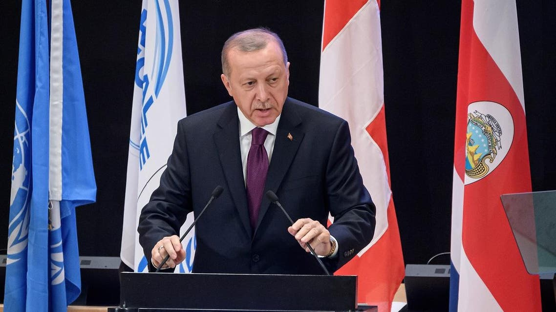 Turkey's President Recep Tayyip Erdogan delivers a speech during the opening of the Global Refugee Forum, on December 17, 2019 in Geneva. (AFP)