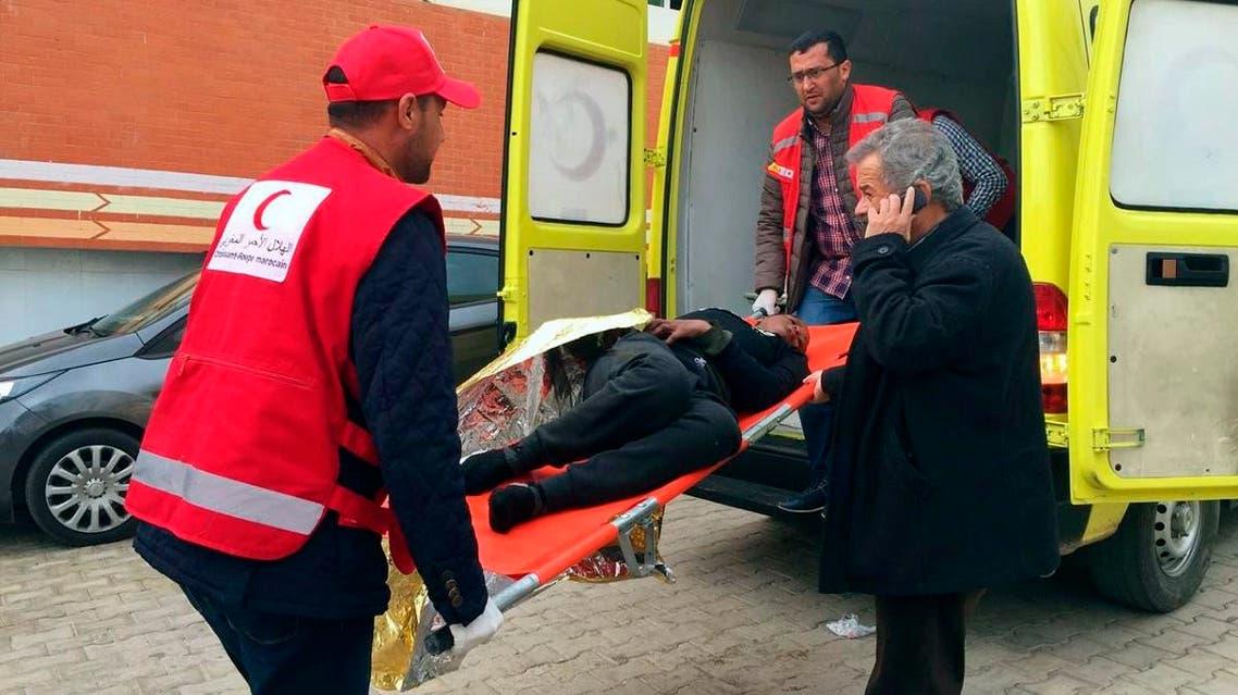 medics transport survivors of a migrant shipwreck to a hospital in Nador, northern Morocco, on December 16, 2019. (AP)