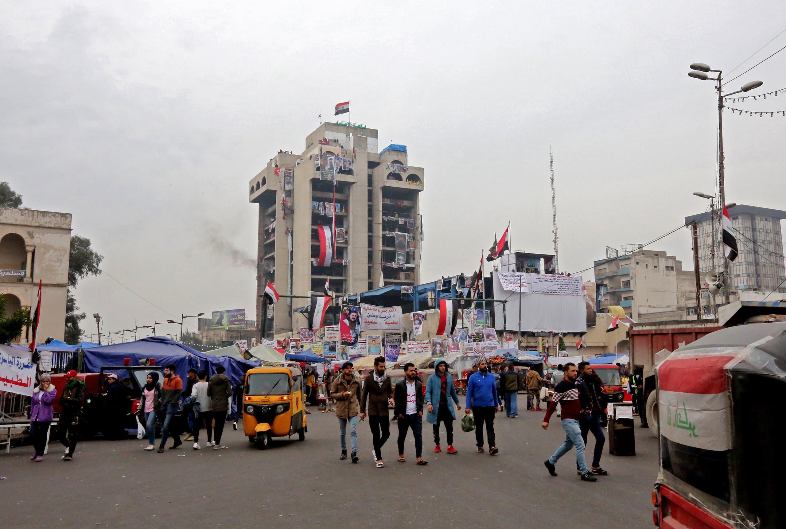 من ساحة التحرير  في بغداد (فرانس برس)