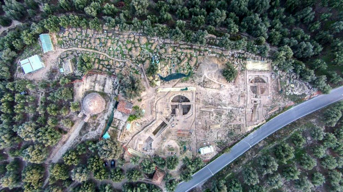 An aerial view is seen of two 3,500-year-old tombs discovered near the southwestern Greek town of Pylos. (AP)