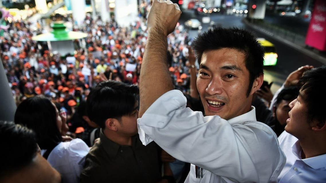 Thai politician and leader of the opposition Future Forward Party Thanathorn Juangroongruangkit arrives at a rally in Bangkok on December 14, 2019. (AFP)