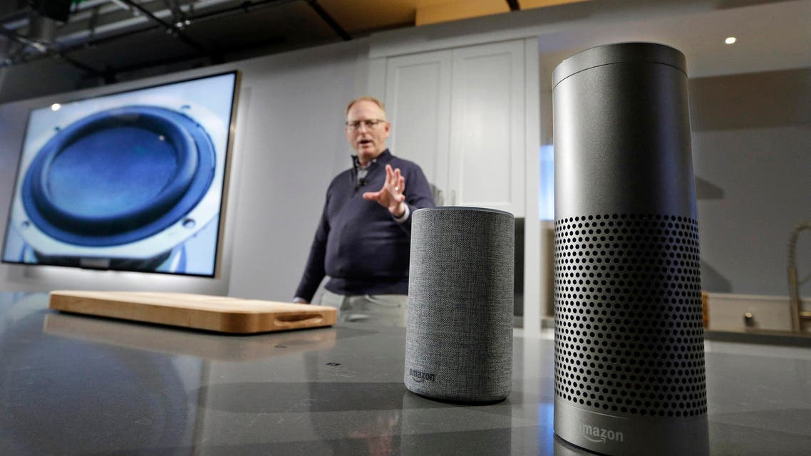 Amazon displays a new Echo and an Echo Plus during an event in Seattle on Sept. 27, 2017. (File photo: AP)