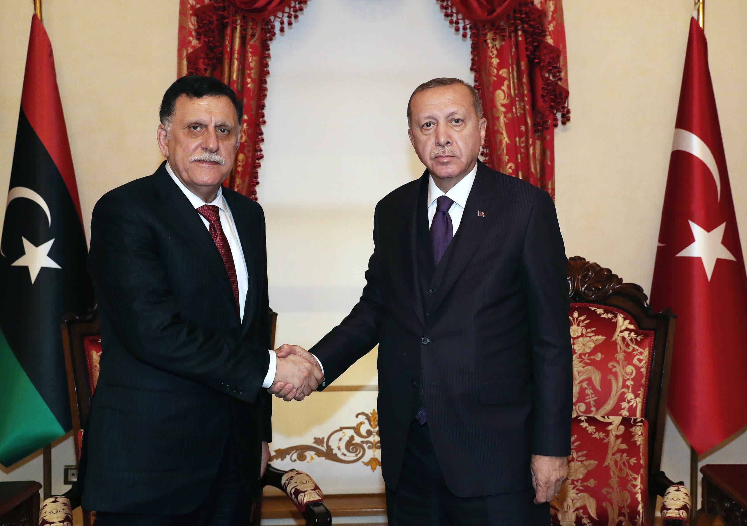 الرئيس التركي رجب طيب أردوغان ورئيس حكومة الوفاق فائز السراج - أرشيفية