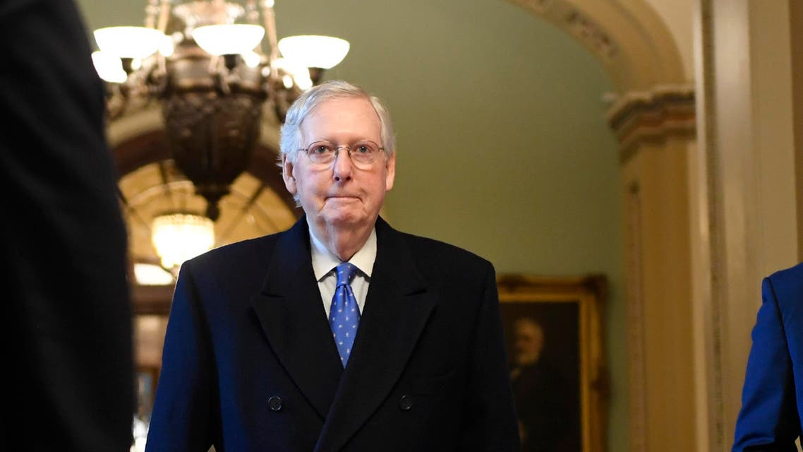 Senate Majority Leader Mitch McConnell of Ky., walks to his office on Capitol Hill in Washington, Thursday, Dec. 19, 2019. (AP Photo/Susan Walsh)