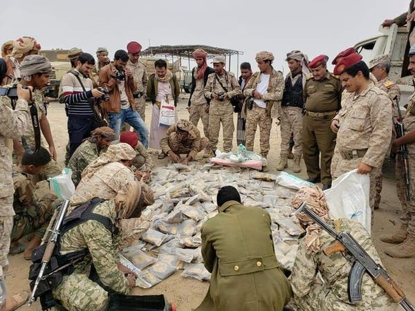 فيديو.. الجيش اليمني يضبط شحنة مخدرات قبل وصولها للحوثي