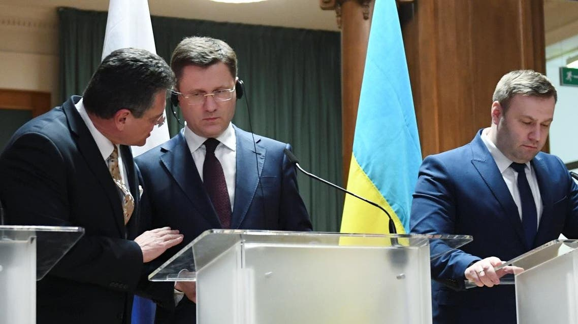 European Commission Vice-President Maros Sefcovic, Russian Energy Minister, Alexander Novak, Ukrainian Minister of Energy and Environmental Protection, Oleksiy Orzhel, attend a news conference after trilateral gas talks between the EU, Russia and Ukraine in Berlin on December 19, 2019. (Reuters)