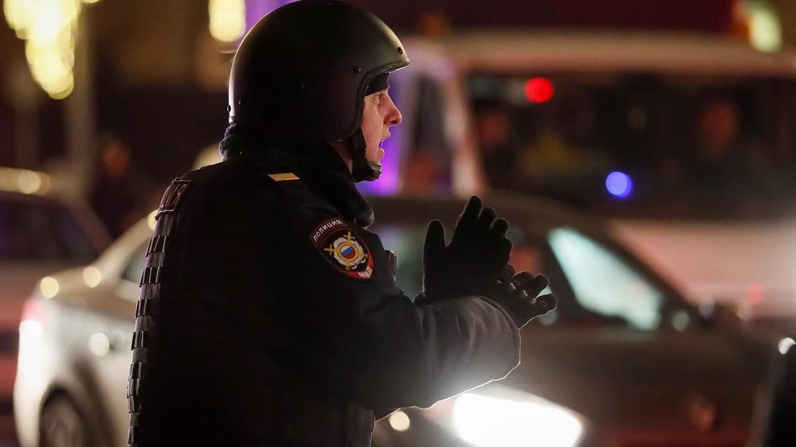 A security officer blocks a street near the Federal Security Service (FSB) building after a shooting incident, in Moscow, Russia, on December 19, 2019. (Reuters)