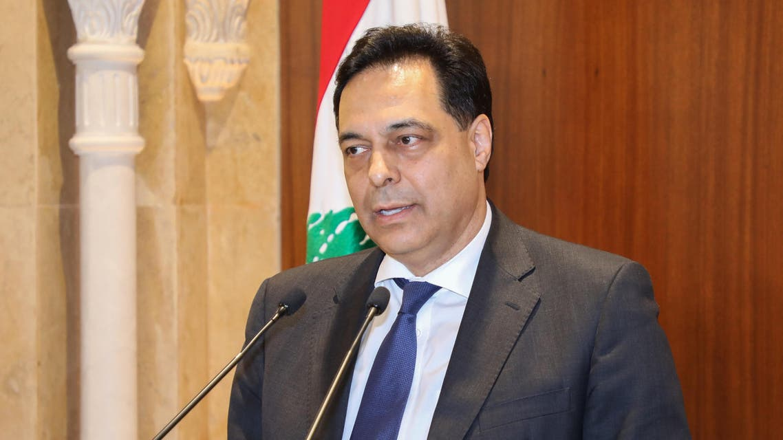 Prime Minister-designate Hassan Diab gives a statement following his meeting with outgoing prime Minister Saad Hariri in Beirut on December 20, 2019. (AFP)