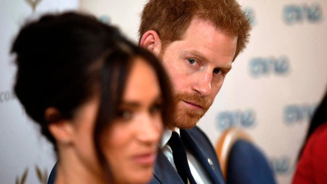 Britain's Prince Harry and Meghan Duchess of Sussex attend a roundtable discussion on gender equality at Windsor Castle in Windsor, England, on Ocober 25, 2019.  (AP)
