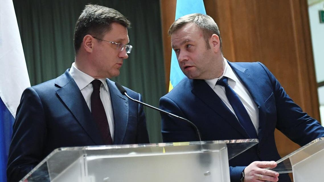 Russian Energy Minister, Alexander Novak, Ukrainian Minister of Energy and Environmental Protection, Oleksiy Orzhel, attend a news in Berlin, Germany, on December 19, 2019. (Reuters)
