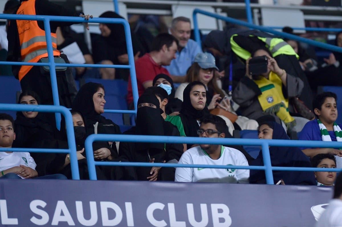 Saudi women watch a friendly soccer match between Brazil and Saudi Arabia at King Saud university stadium in Riyadh, Saudi Arabia (File photo: AP)