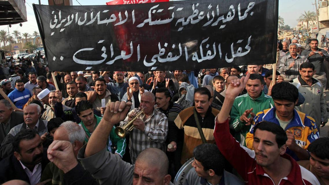 Iraqi demonstrators protesting Iran's interference in the Iraqi politics as well as Qusay al-Suhail's candidacy for prime minister took to the streets Sunday. (Photo: AP)