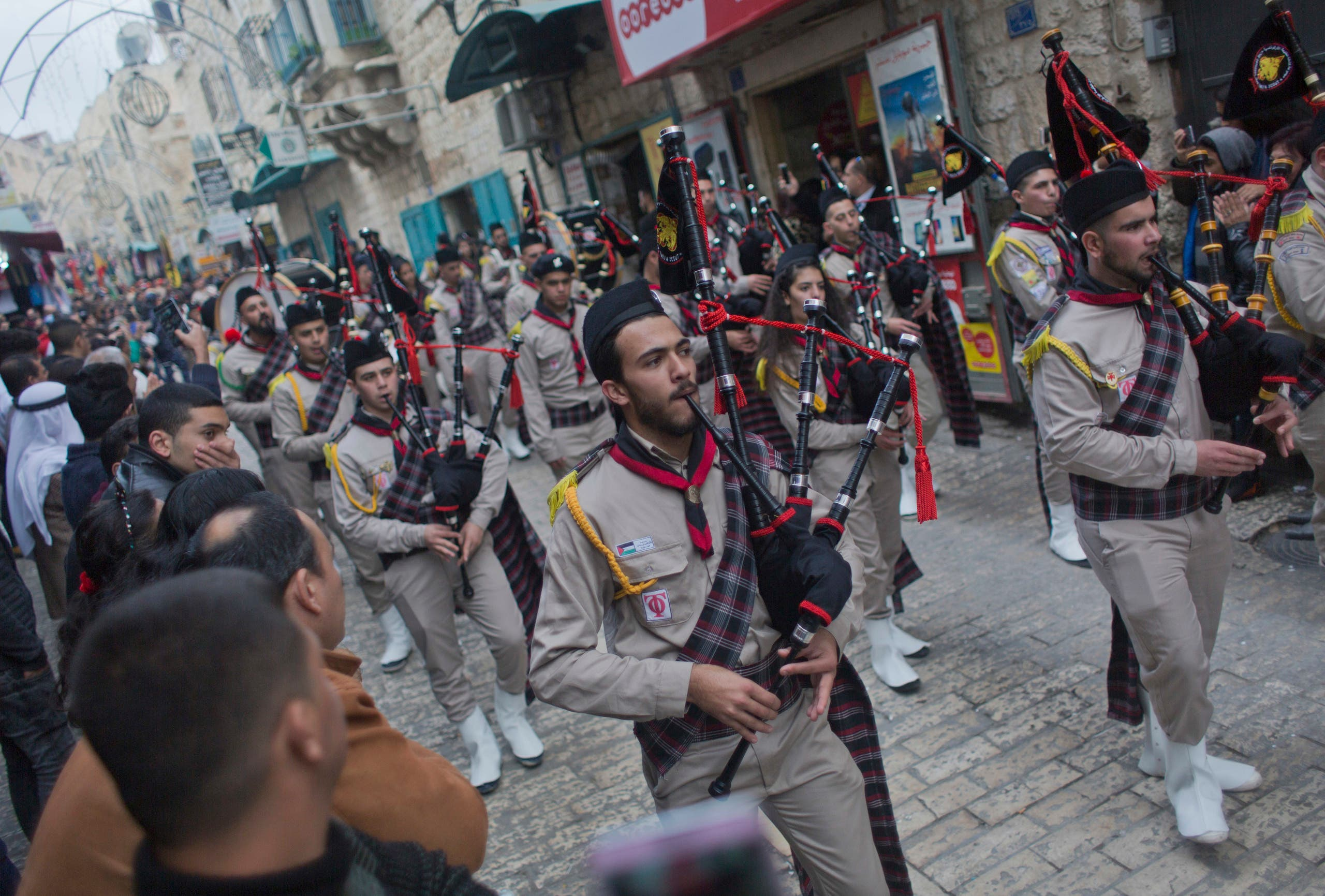 Palestinian scouts march through Bethlehem on December 24, 2018. (File photo: AP)