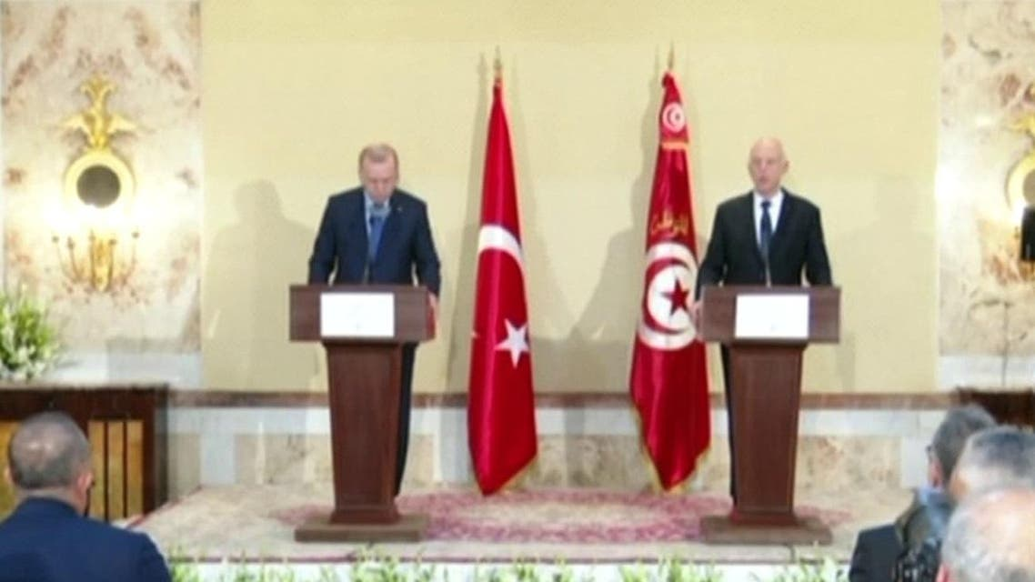 Turkish President Erdogan and Tunisian President Kais Saied during a press conference. (Screengrab)