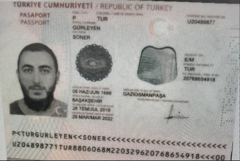 A copy of the first Turkish passport detained in Niger