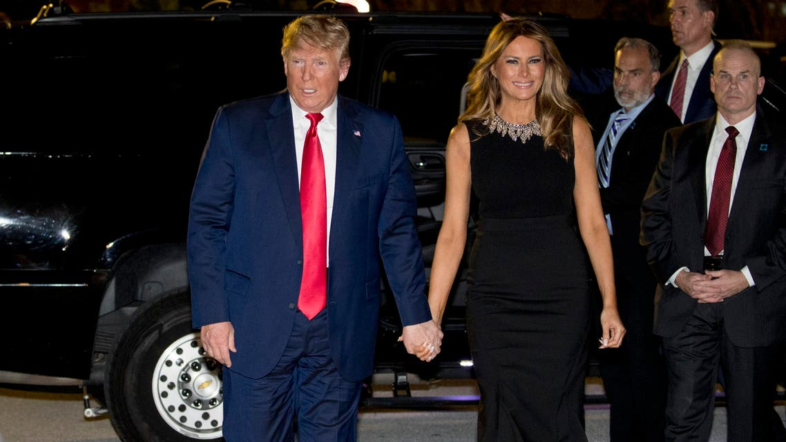 President Donald Trump and first lady Melania Trump arrive for Christmas Eve service at Family Church Downtown in West Palm Beach, Florida, on December 24, 2019. (AP)