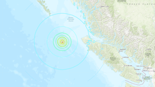 Large earthquake strikes spot off coast of British Columbia