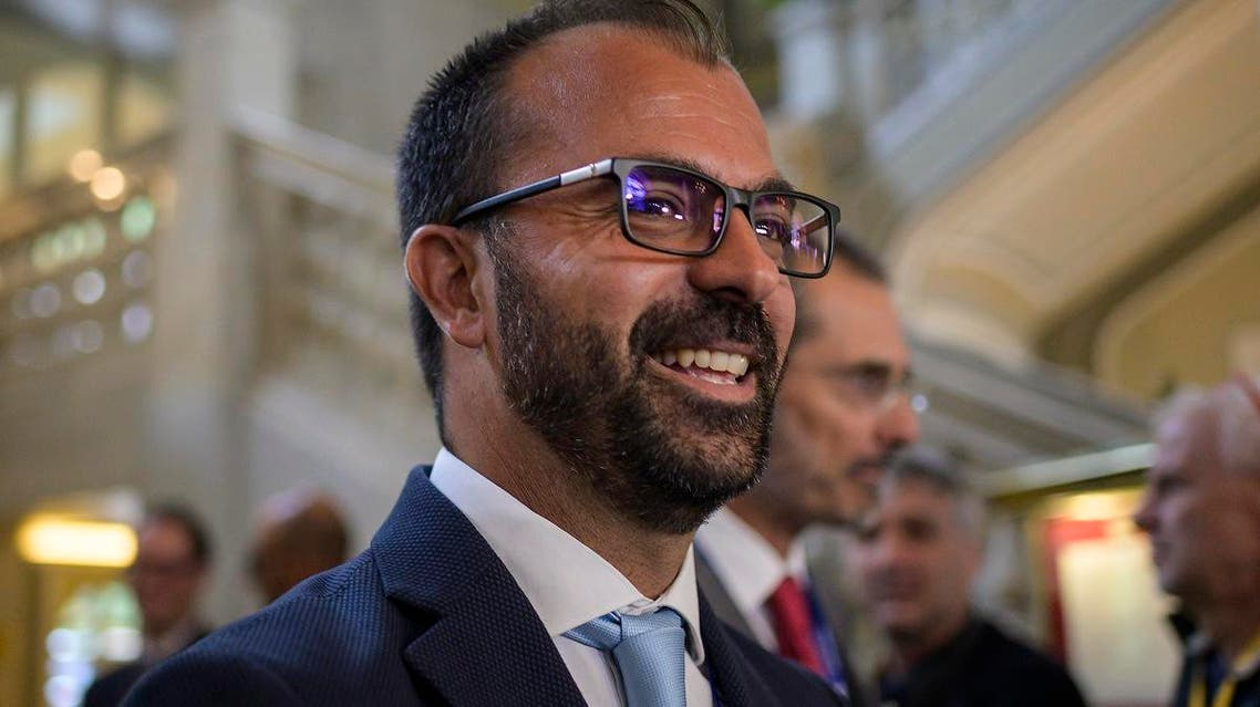 """Italian Education Minister Lorenzo Fioramonti arrives to attend the 45th edition of the annual """"The European House Ambrosetti"""" forum on economy in Cernobbio, on September 8, 2019. (AFP)"""